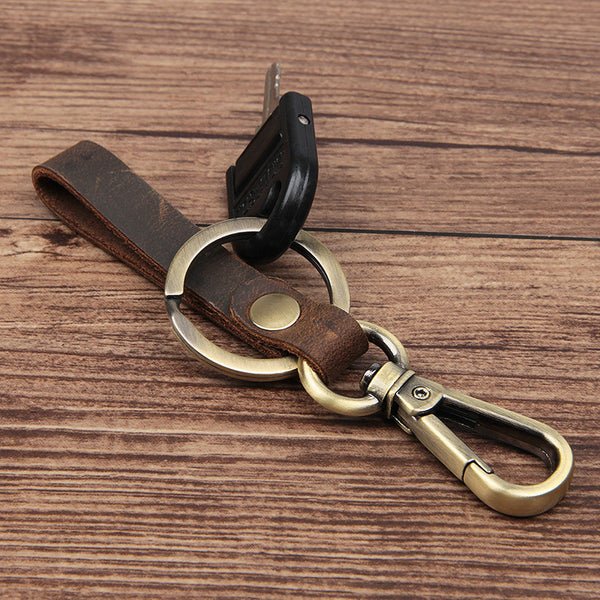 Rockcow Full Grain Leather Key Chain Personalized Key Ring Husband