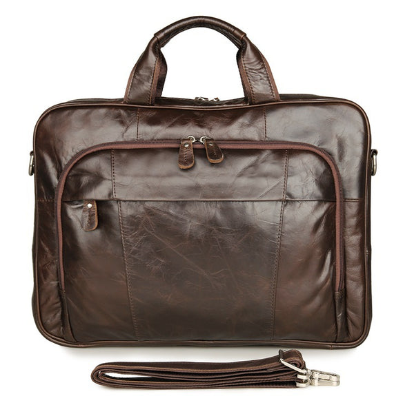 Handmade Top Grain Leather Briefcase Men's Travel Messenger Bag Business Laptop Bags 7334 - ROCKCOWLEATHERSTUDIO