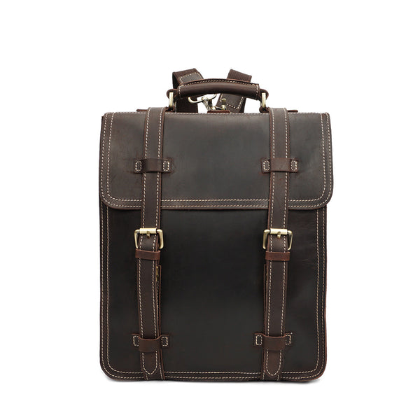 ROCKCOW Brown Vintage Leather Backpack Laptop Messenger Bag Rucksack Sling for Men Women YD8062