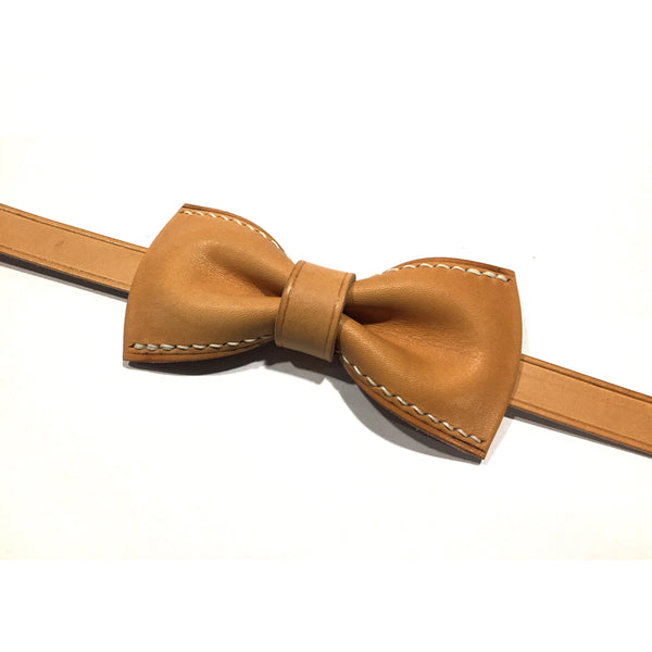 Personalized Handmade Vegetable Tanned Leather Bow Tie, Groomsmen Bow Tie, Wedding Bow Tie Mens Gift