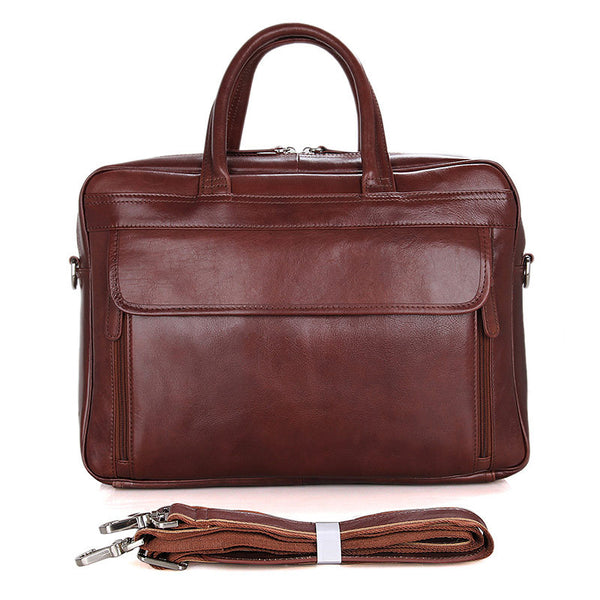 ROCKCOW Full Grain Leather Briefcase Best Messenger Bag Men's Business Laptop Satchel 7333 - ROCKCOWLEATHERSTUDIO
