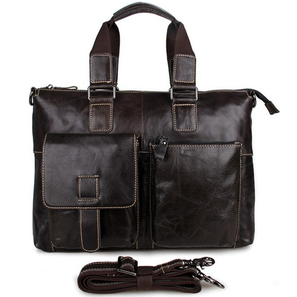Handmade Top Grain Leather Briefcase Men's Minimalism Messenger Bag Handbags 7264 - ROCKCOWLEATHERSTUDIO