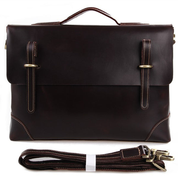 Handmade Italia Full Grain Leather Briefcase Men's Vintage Business Shoulder Bag Handbags 7228Q - ROCKCOWLEATHERSTUDIO