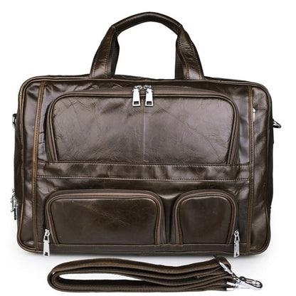 Handmade Top Leather Briefcase Large Shoulder Bags Men's Business Laptop Messenger Bag 7289