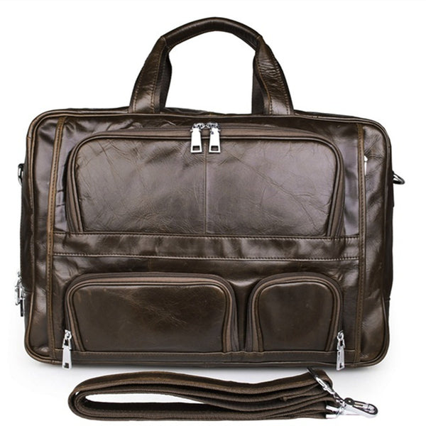 Handmade Top Leather Briefcase Large Shoulder Bags Men's Business Laptop Messenger Bag 7289 - ROCKCOWLEATHERSTUDIO