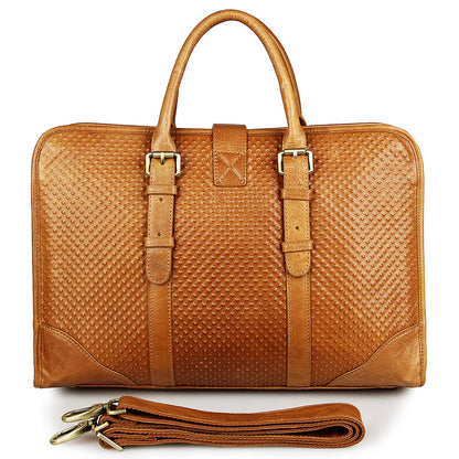 Handmade Top Grain Leather Briefcase Vintage Messenger Satchel Shoulder Laptop Bag for Men Women 7339