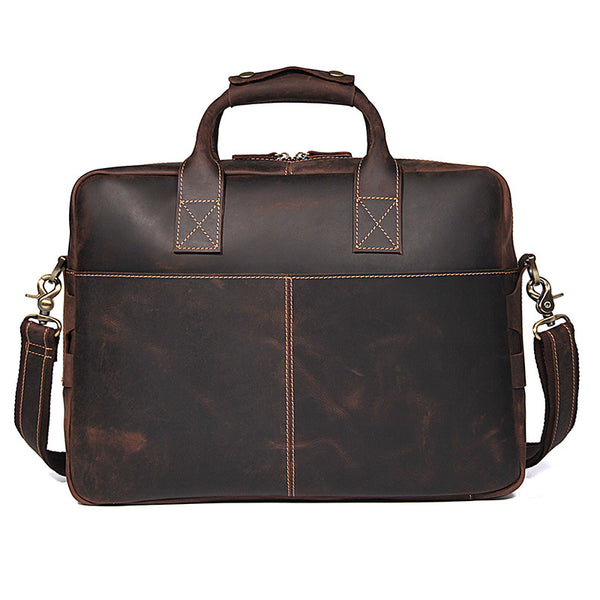 Handmade Top Grain Leather Briefcase Vintage Travel Messenger Bag Hand Bags 7382R