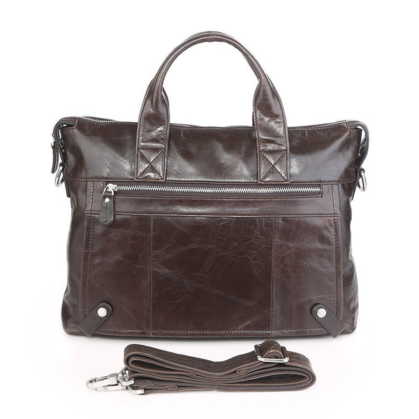 ROCKCOW Top Grain Leather Briefcase Men's Black Business Messenger Shoulder Bag 7120
