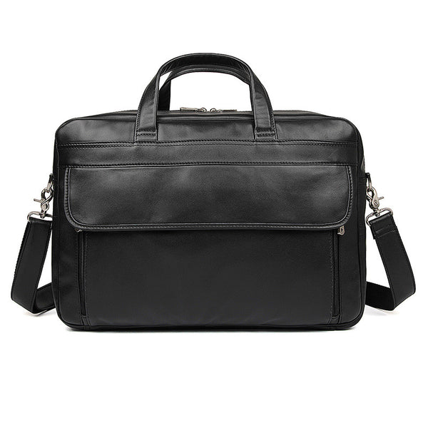 Men's Top Grain Leather Briefcase Black Travel Messenger Bag Laptop Bags 7383A