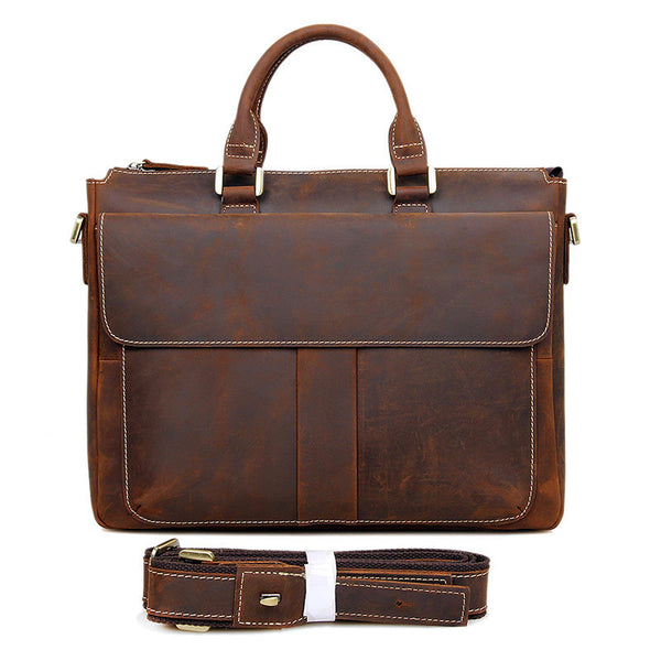 Handmade Crazy Horse Leather Briefcase Men's Business Cross Body Bags Leather Handbags 7113 - ROCKCOWLEATHERSTUDIO