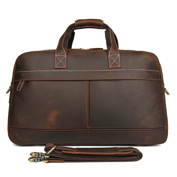 Crazy Horse Leather Briefcase Travel Duffle Bag Men's Large Handbags 6006R - ROCKCOWLEATHERSTUDIO
