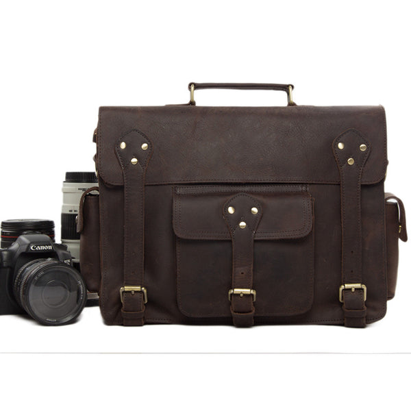 Genuine Leather DSLR Camera Bag Leather Briefcase Leather Camera Bag For Canon&Nikon 7200 - ROCKCOWLEATHERSTUDIO