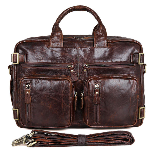 ROCKCOW Top Grain Leather Messenger Bags Men's Large Travel Backpacks Handbags 7026