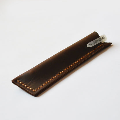 Hand Stitched Genuine Natural Leather Pen Holder, Leather Pen Case D02 - ROCKCOWLEATHERSTUDIO