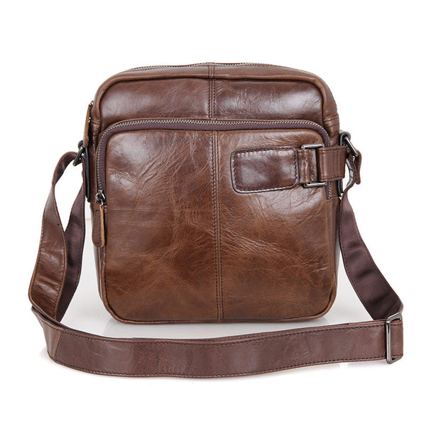 ROCKCOW Top Grain Leather Shoulder Bag Men's Brown Crossbody Bags Satchel 6012 - ROCKCOWLEATHERSTUDIO