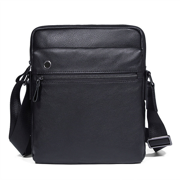 Black Top Grain Leather Shoulder Bag Men's Crossbody Bags Leather Satchel Bag 1045A - ROCKCOWLEATHERSTUDIO