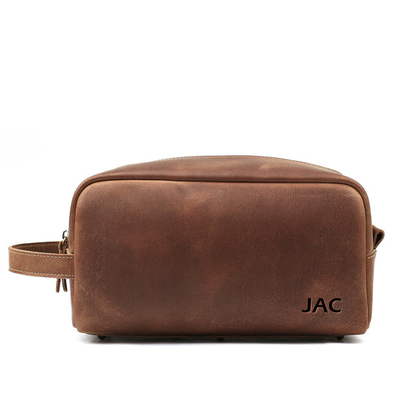 7d34d4972eec ... Personalized Leather Toiletry Bag