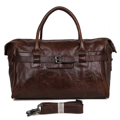 Handmade Top Grain Leather Travel Duffle Bags Designer Overnight Bag Men's Gym Bag 7079Q