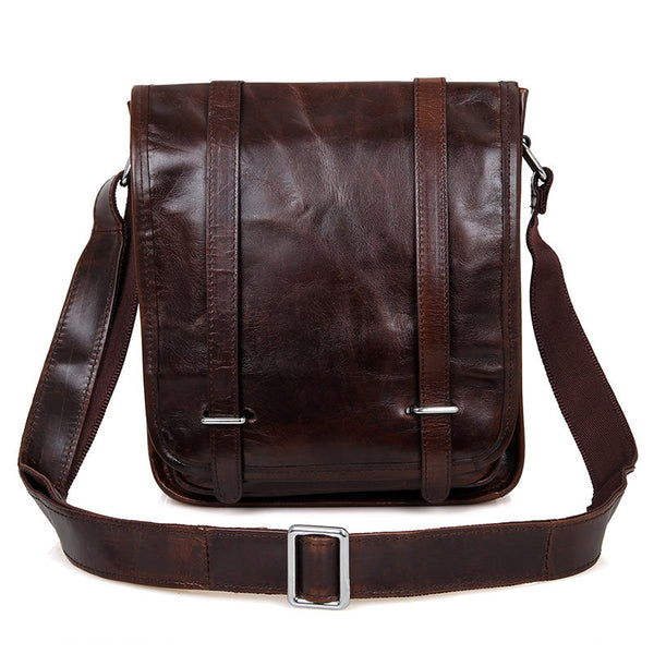Handmade Top Grain Leather Messenger Bags Men's  Shoulder Bags Leather Cross Body Bag 7109C - ROCKCOWLEATHERSTUDIO