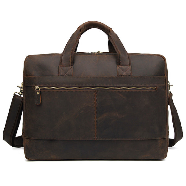 Handmade Top Grain Leather Briefcase Travel Messenger Bag Men's Large Crossbody Bags 7389R - ROCKCOWLEATHERSTUDIO