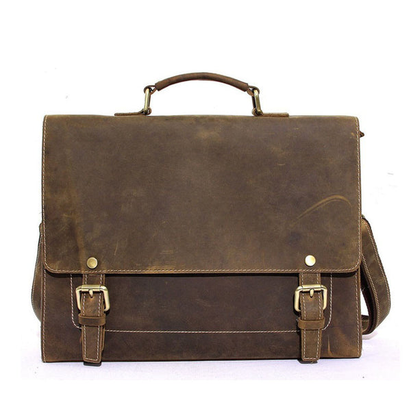 Rustic Leather Laptop Bag, Business Briefcase, Mens Briefcase Men Messenger bag 8903 - ROCKCOWLEATHERSTUDIO
