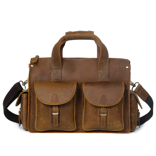 ROCKCOW Crazy Horse Genuine Leather Men Messenger Bags Vintage Briefcases Leather Laptop Bag YD8045 - ROCKCOWLEATHERSTUDIO