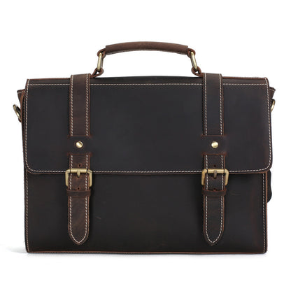Vintage Style Leather Briefcase Messenger Bag Satchel Bag Crossbody Shoulder Bag 12007