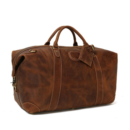 Vintage Leather Duffle Bag, Leather Travel Bag, Mens Weekend Bag