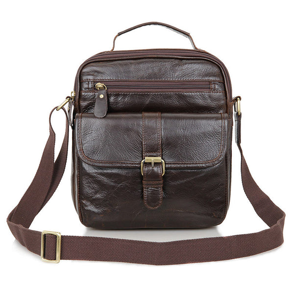 ROCKCOW Top Grain Leather Messenger Bags Men's Small Shoulder Bags 7141Q-1