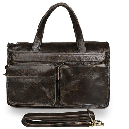 ROCKCOW Full Grain Leather Briefcase Men's Travel Messenger Shoulder Bag 7138