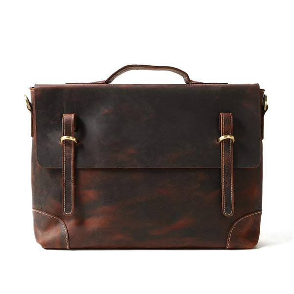 ROCKCOW Crazy Horse Leather Laptop Messenger Bag, Business Briefcase, Men's Bag 0341 - ROCKCOWLEATHERSTUDIO