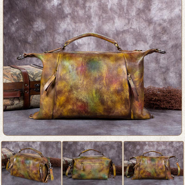 Handmade Vintage Bag, Leather Satchel bag, Women Handbag A0191 - ROCKCOWLEATHERSTUDIO