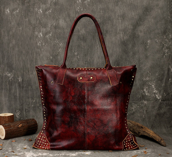 Vintage Leather Shopping Handbags, Handmade Tote Bag FY9244 - ROCKCOWLEATHERSTUDIO
