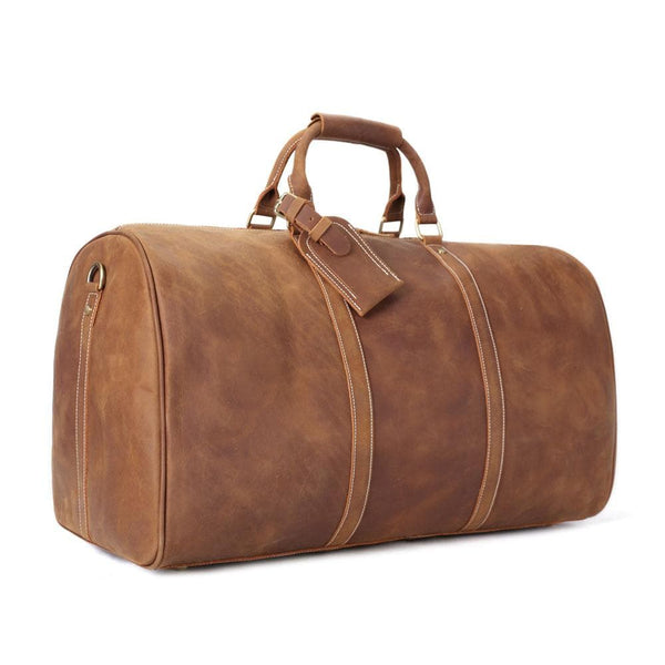 RockCow Vintage Leather Duffle Bag, Mens Travel Bag, Gym Bags for Men