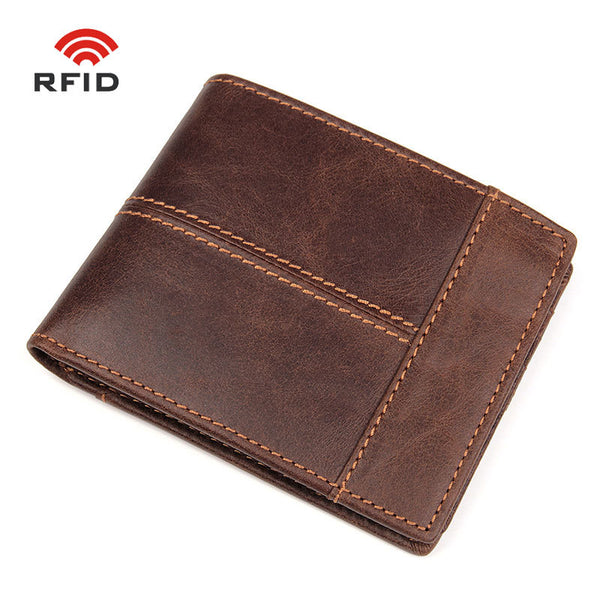 Handmade Top Grain Leather Wallets RFID Wallet Men's Brown Sewing Wallet R8064R