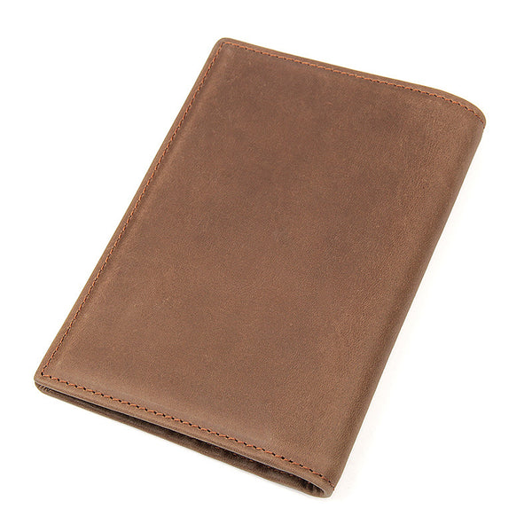 3 Color's Top Grain Leather Wallets Men's Travel Passport Holder Clutch 8190 - ROCKCOWLEATHERSTUDIO