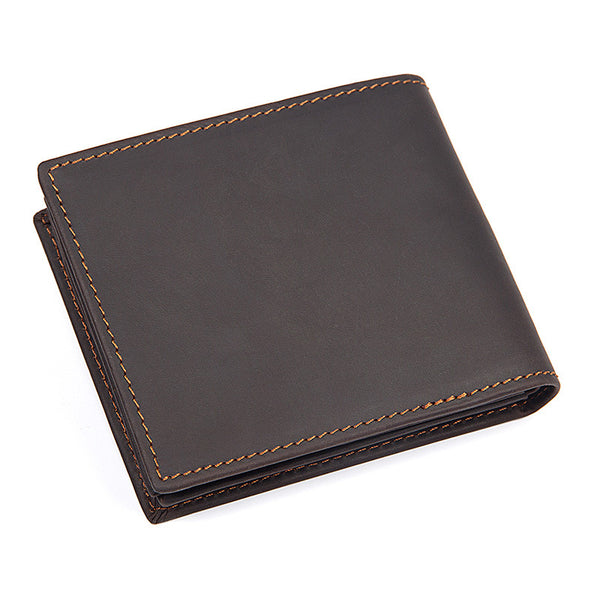 Minimalist Leather Wallet Men Top Grain Leather Short Wallets Brown Clutch Bags 8056R-2 - ROCKCOWLEATHERSTUDIO