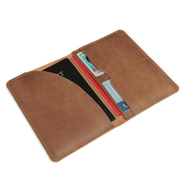 Handmade Top Grain Leather Wallets Men's Brown Passport Holder Clutch 8435