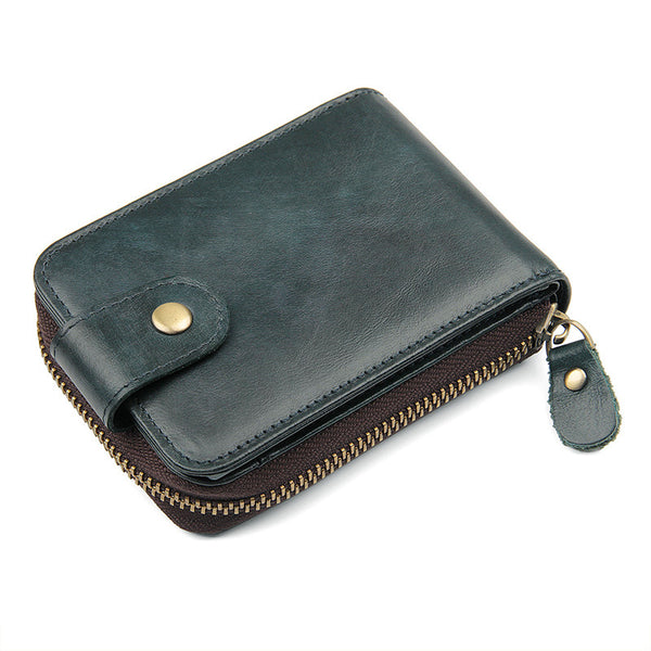Handmade Top Grain Leather Wallets RFID Wallet Men's Card Holder Wallet Clutch 8192