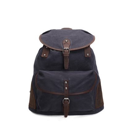 ROCKCOW Vintage Canvas Backpack Outdoor Hiking Travel Rucksack AF18 - ROCKCOWLEATHERSTUDIO