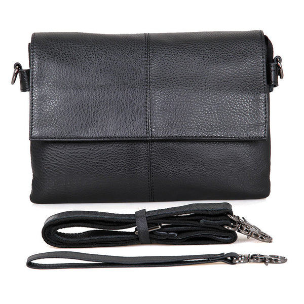 Rockcow Top Grain Leather Messenger Bags Women's Black Leather Shoulder Bag Clutch Bag C003A