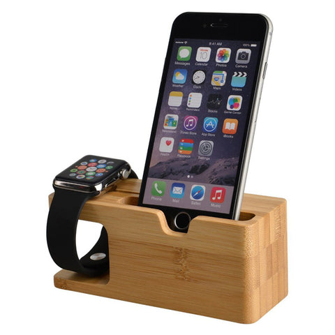 2 In 1 Bamboo Charging Dock Station For iWatch Iphone - Natural Wood
