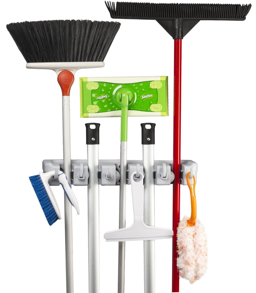 Mop, Broom and Sports Equipment Organizer Wall Mount