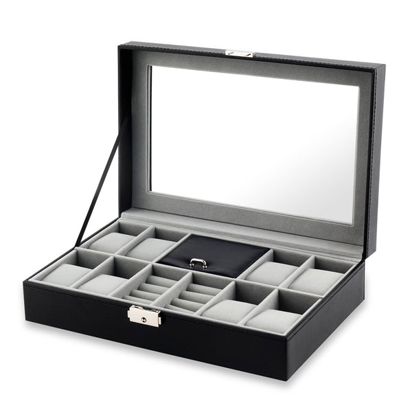 PU Leather 8 Slots Watch Box Jewelry Necklace Ring Display Case With Lock & Glass Top