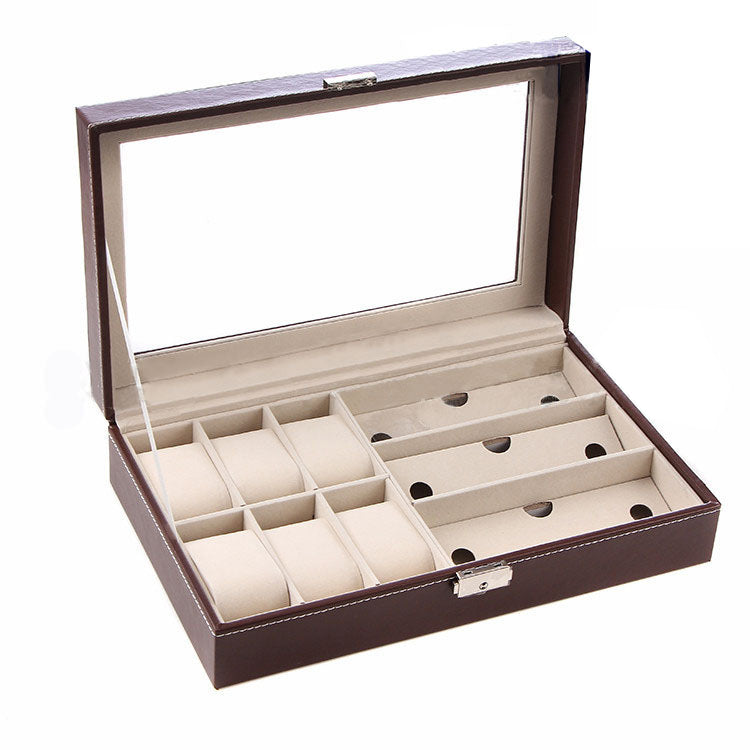 PU Leather 6 Watch Organizer Box and 3 Piece Eyeglasses and Sunglass Display Case