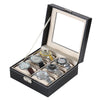 6 Slots PU Leather Watch Display Collection Case Jewelry Storage Organizer