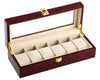 Elegant Cherry Wood 6 Grid Watch Display Collection Case Jewelry Storage Organizer