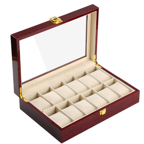 Elegant Cherry Wood 12 Grid Watch Display Collection Case Jewelry Storage Organizer