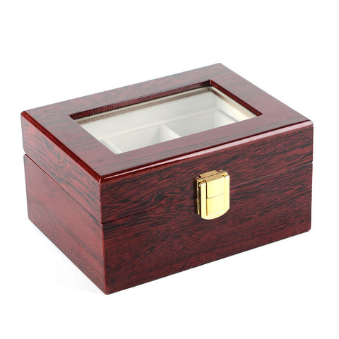Elegant Cherry Wood 3 Grid Watch Display Collection Case Jewelry Storage Organizer