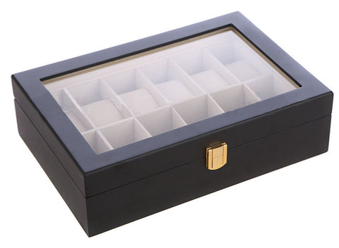 12 Slot Black Wood Watch Display Case Jewelry Storage Organizer